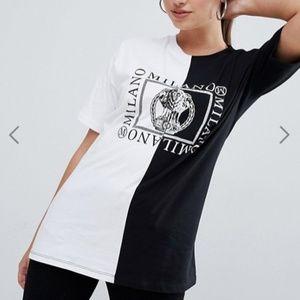 ASOS DESIGN black white spliced mono motif t-shirt